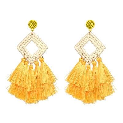 White As Snow Handmade Tassel Earrings