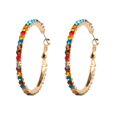 Rainbow Circle Hoop Earrings