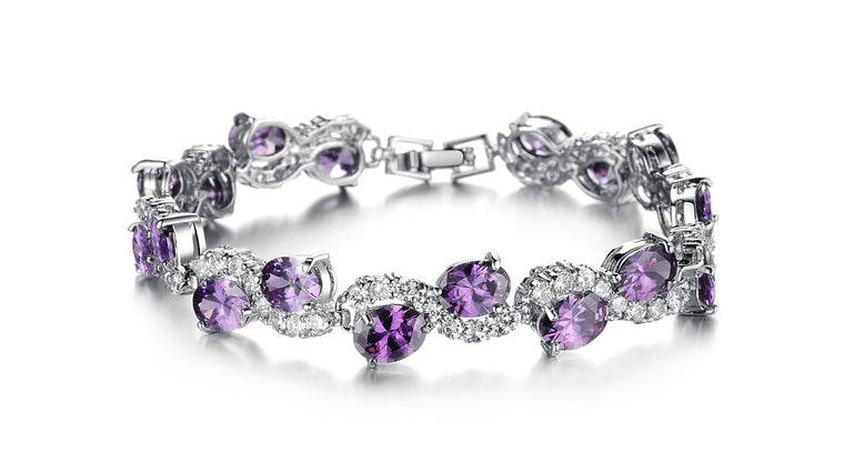 Perfect Purple Vibes Luxurious Crystal Bracelet