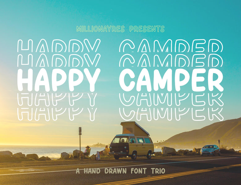 Happy Camper - A MillionAyres Font - Commerical Use
