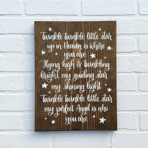 Twinkle Twinkle Little Star | Child Loss | 11x15 | Wood Sign