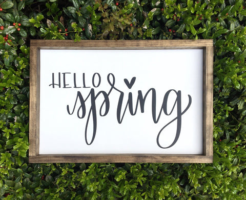 Hello Spring | 13 x 24 | Framed Farmhouse Style Wood Sign