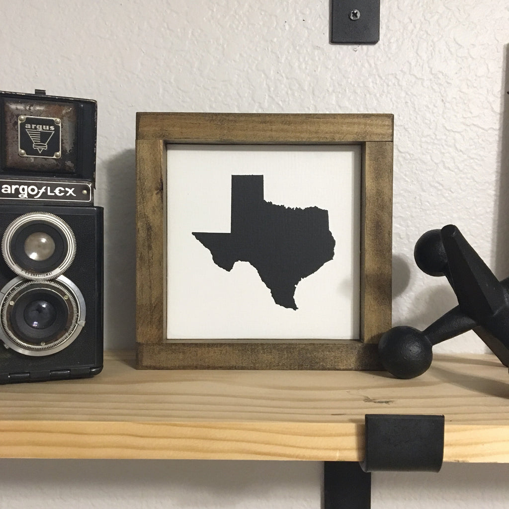 "Ready to Ship Texas State Silhouette | 7""x7"" 