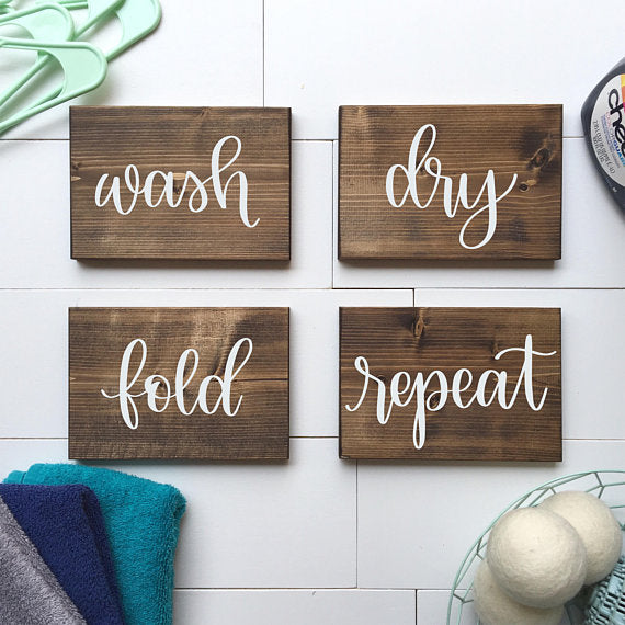 Wash, Dry, Fold, Repeat | Set of 4 Laundry Room Wood Signs