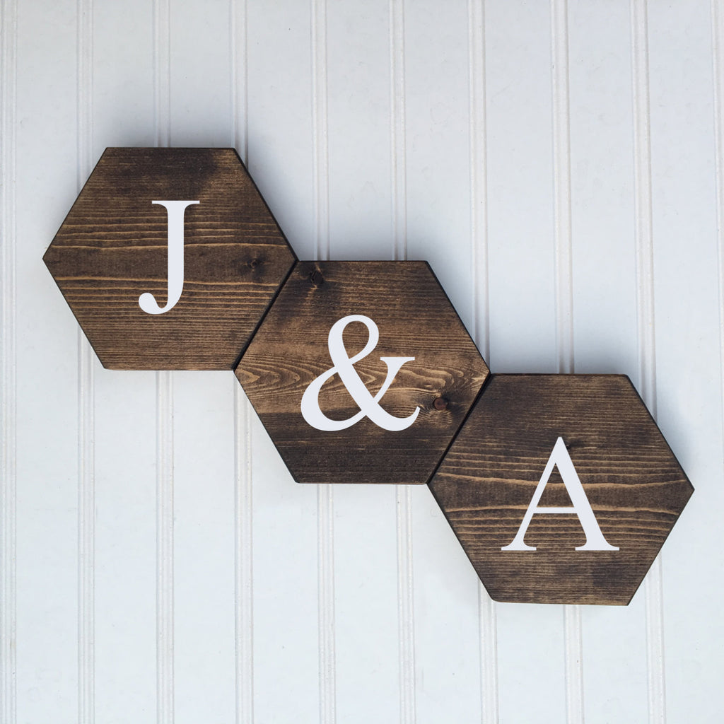 hexagon Mini Wood Signs- Set of 3 - HoneyComb Collection