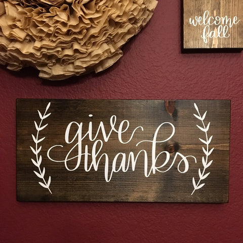 Give Thanks  | 7x15 | Wood Sign