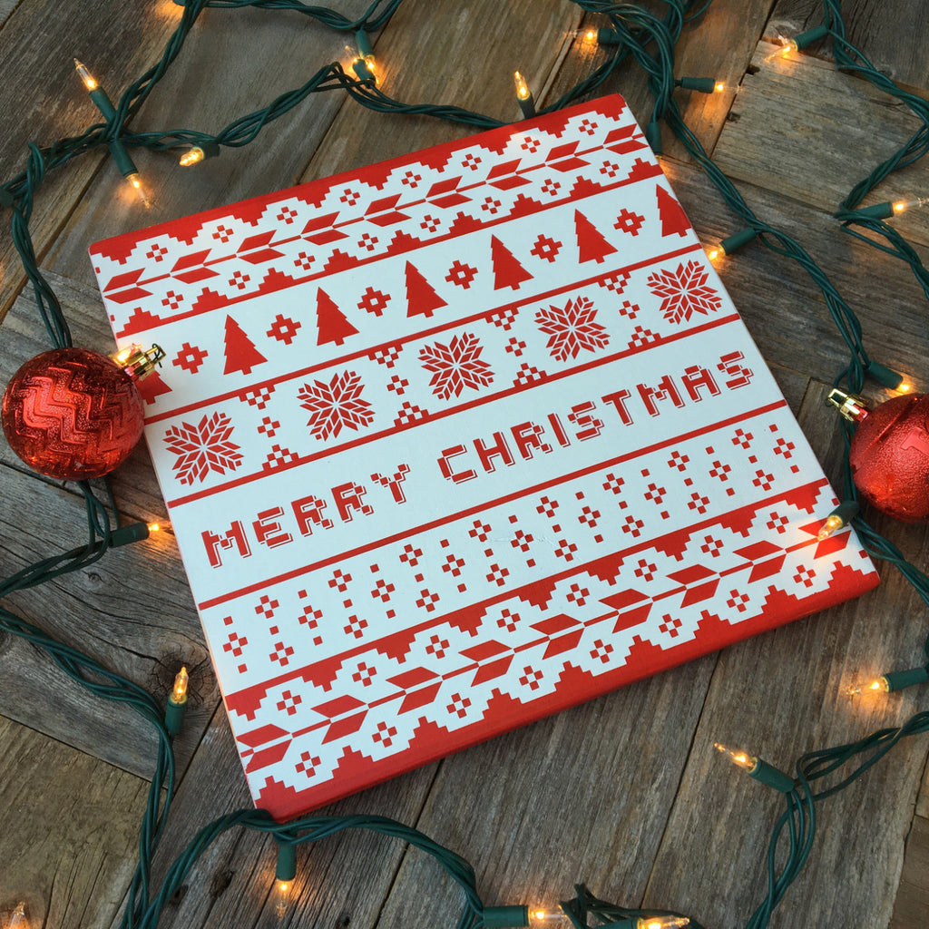 11 x 11 | Ugly Christmas Sweater Merry Christmas | Wood Sign