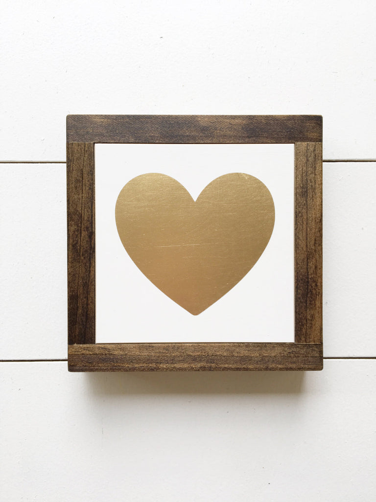 Gold Heart Mini Sign | 7x7 | Framed Sign