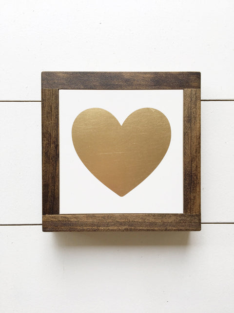 Ready to Ship 7x7 | Gold Heart Mini Sign