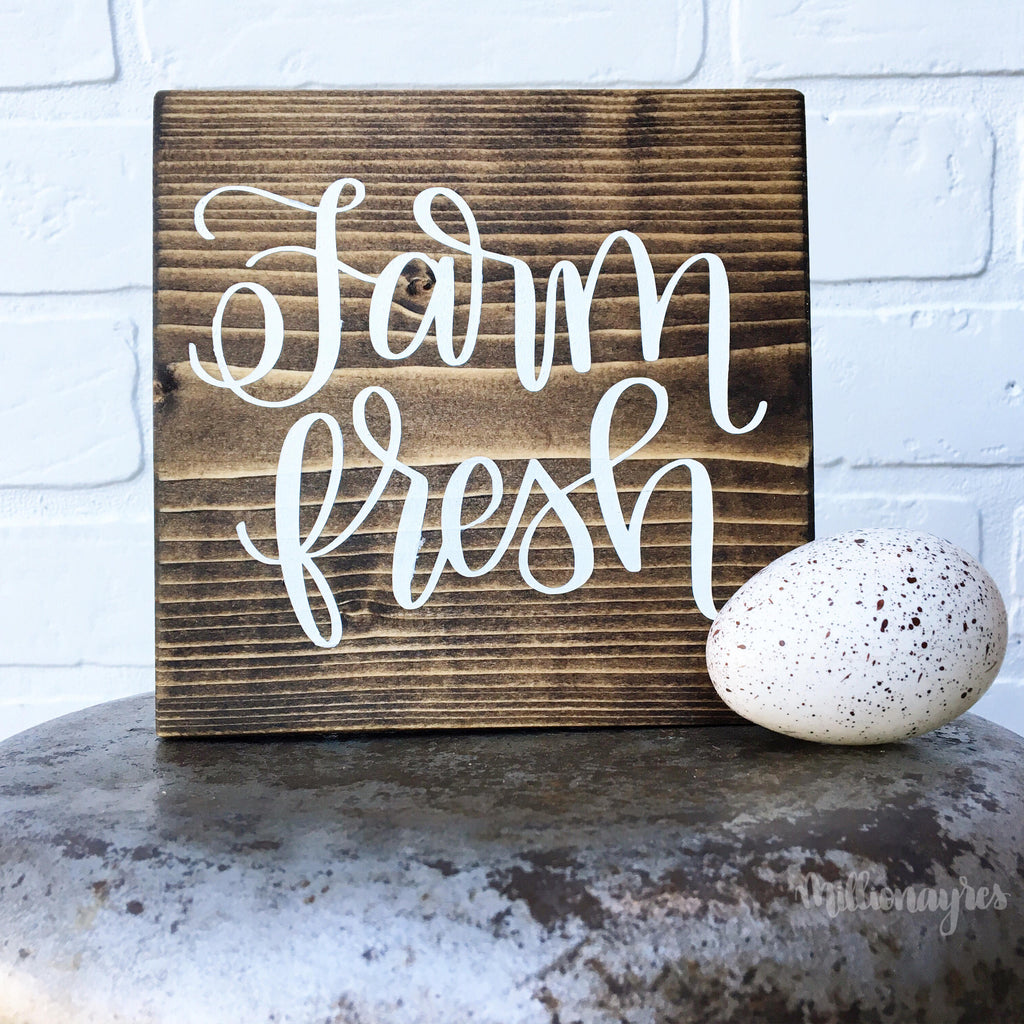 "Ready to Ship Farm Fresh | 5.5""x5.5"" Mini Wood Sign"