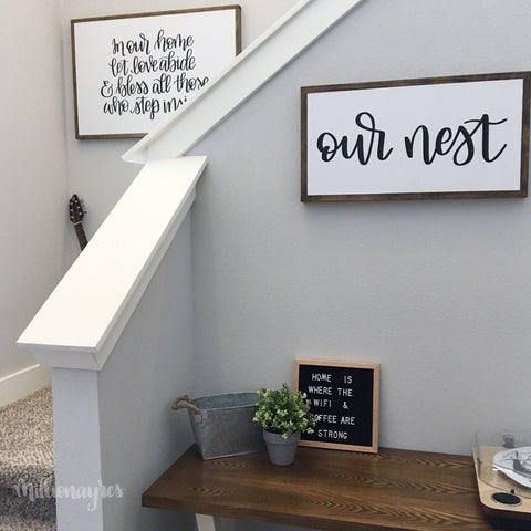 Our Nest | 13 x 24 | Framed Farmhouse Style Wood Sign