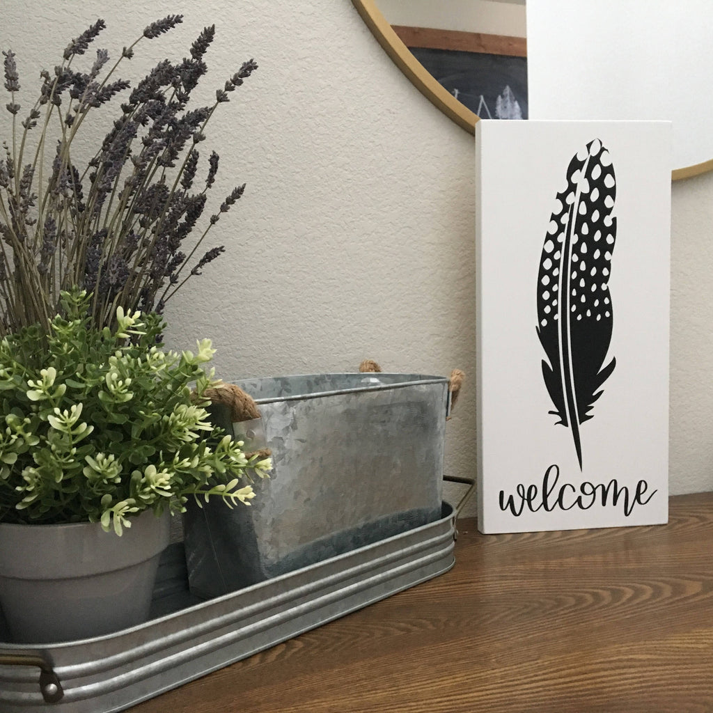 Welcome guinea feather | entryway sign | Wood Signs
