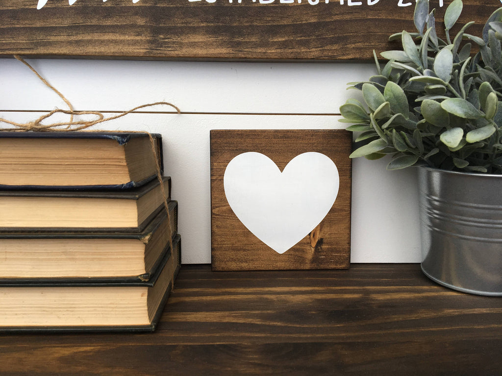 "Ready To Ship Rustic Heart | 5.5""x5.5"" Mini Wood Sign"