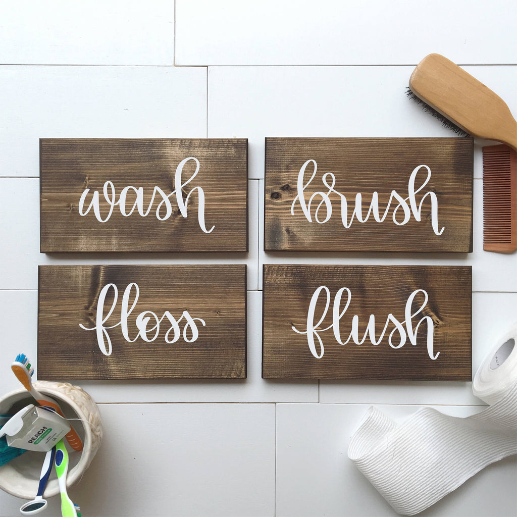 Wash, Brush, Floss, Flush | Set of 4 Bathroom Wood Signs