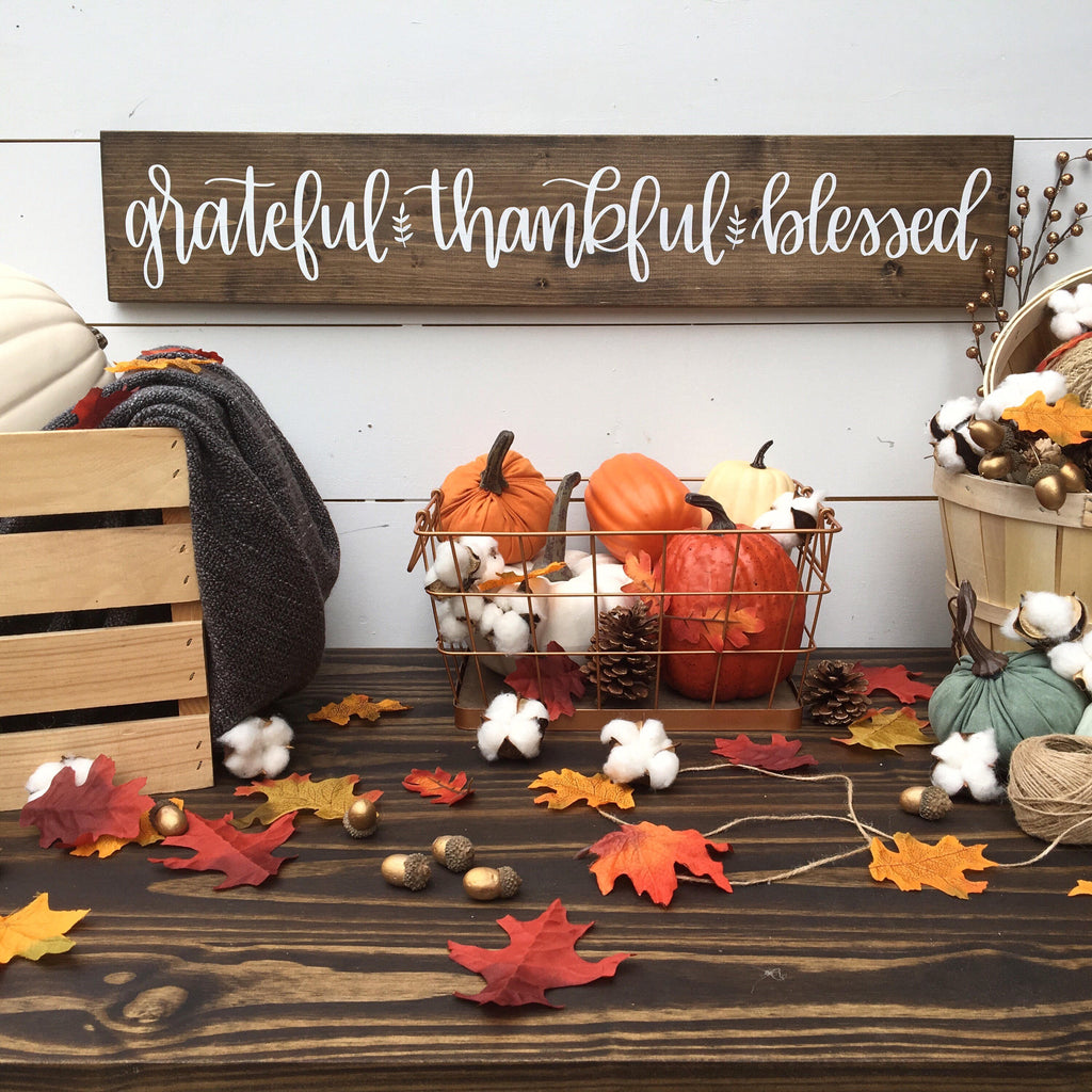 Grateful Thankful Blessed | 5.5x30 | Mantle / Doorway Wood Sign