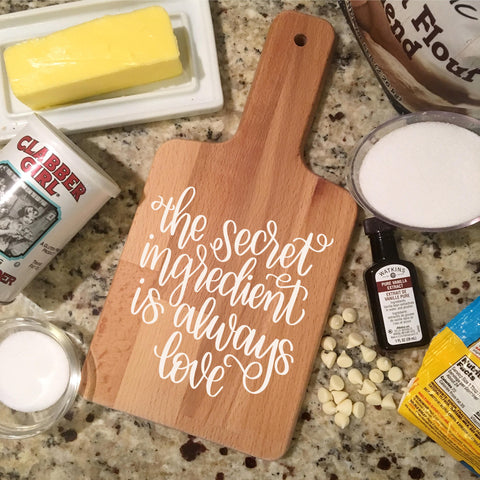 "Ready to Ship The secret Ingredient is always love | 5.75""x11.5"" Mini Cutting Board Wood Sign"