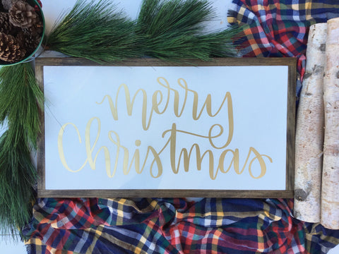 READY TO SHIP 13 x24 | Merry Christmas | Framed Wood Signs