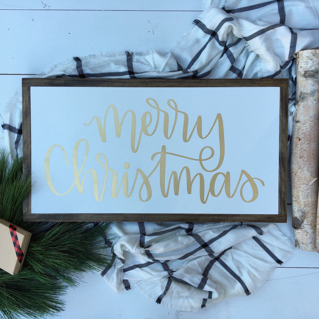 merry christmas 13 x24 framed wood signs