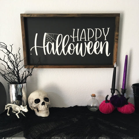 Happy Halloween | 13x24 | Framed Wood Sign
