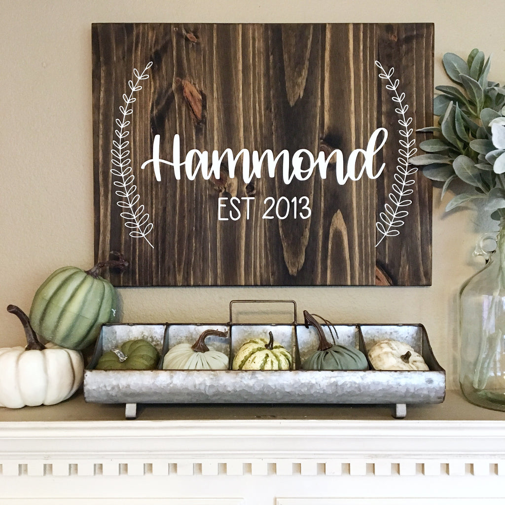 Personalized Last Name Sign with Laurels