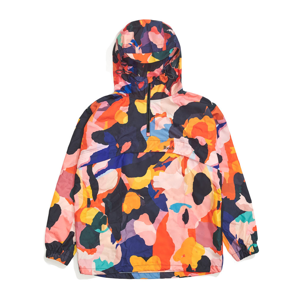 Front product image of multi-colour Leif Podhajsky print hooded pull over Anorak by Ponch