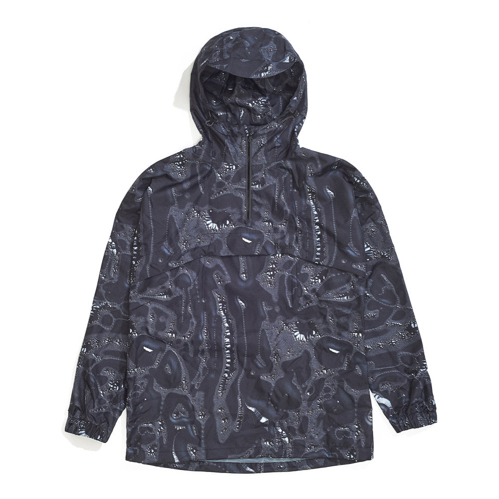 Front product image of black Leif Podhajsky print hooded pull over Anorak by Ponch