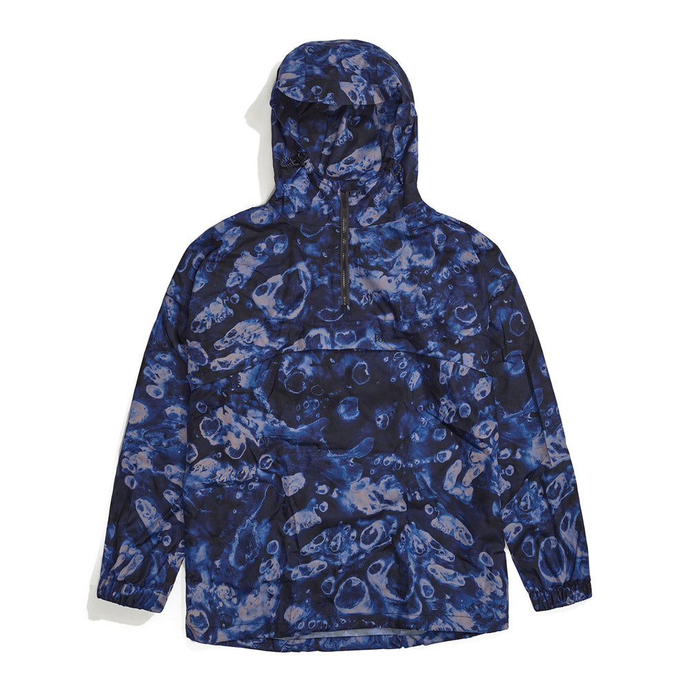 Front product image of blue Leif Podhajsky print hooded pull over Anorak by Ponch