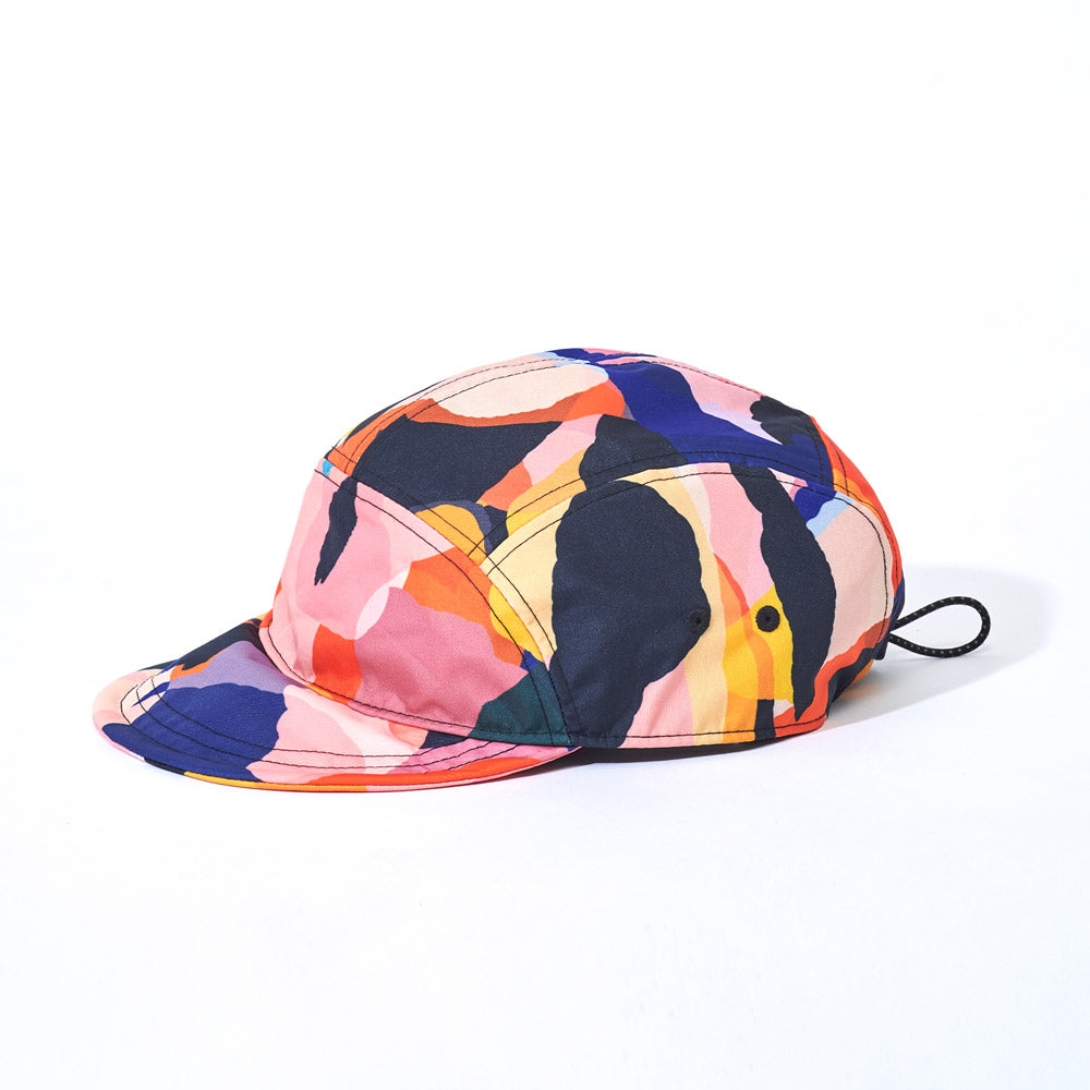 Side product image of multi-colour Leif Podhajsky print six panel cap by Ponch