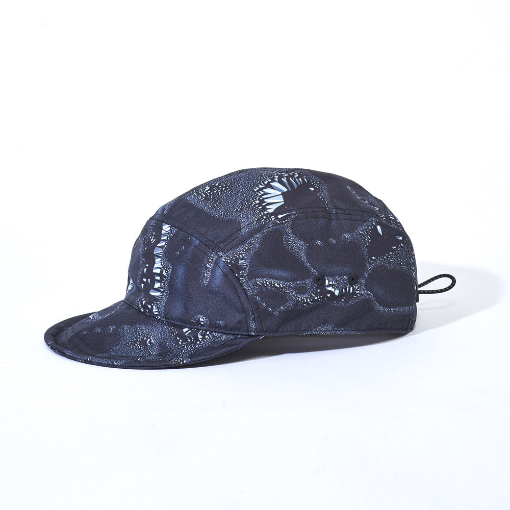 Side product image of black Leif Podhajsky print six panel cap by Ponch