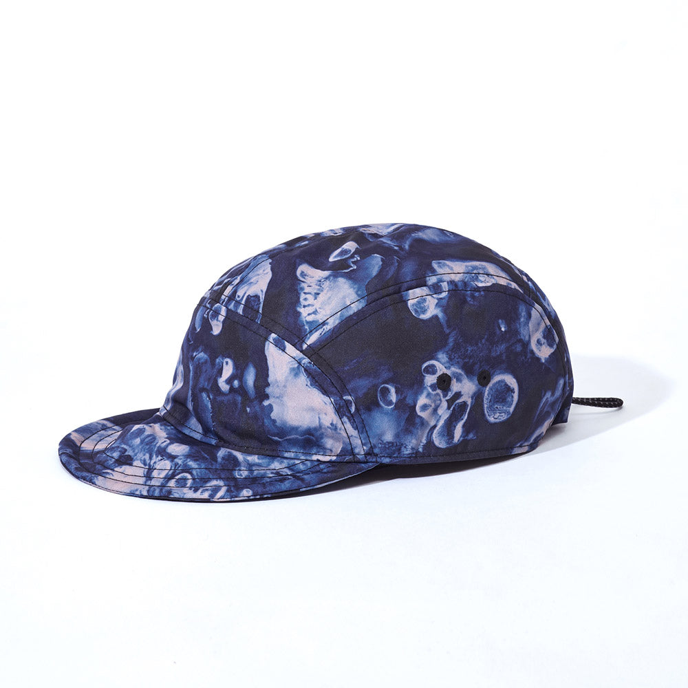 Side product image of blue Leif Podhajsky print six panel cap by Ponch