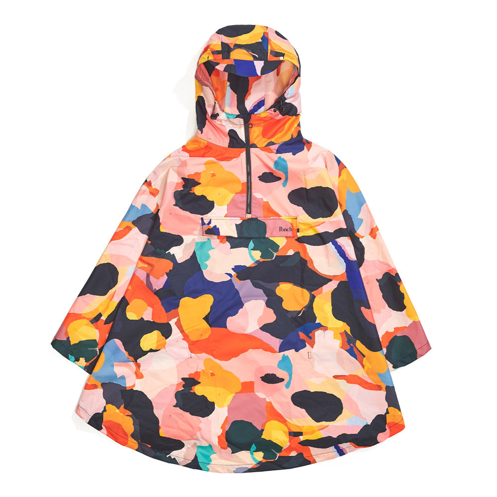Front product image of multi-colour Leif Podhajsky print hooded rain Poncho by Ponch