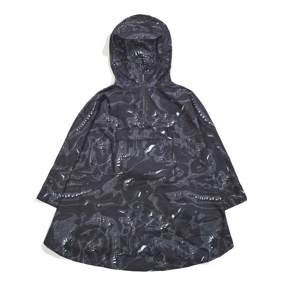 Front product image of black Leif Podhajsky print hooded rain Poncho by Ponch