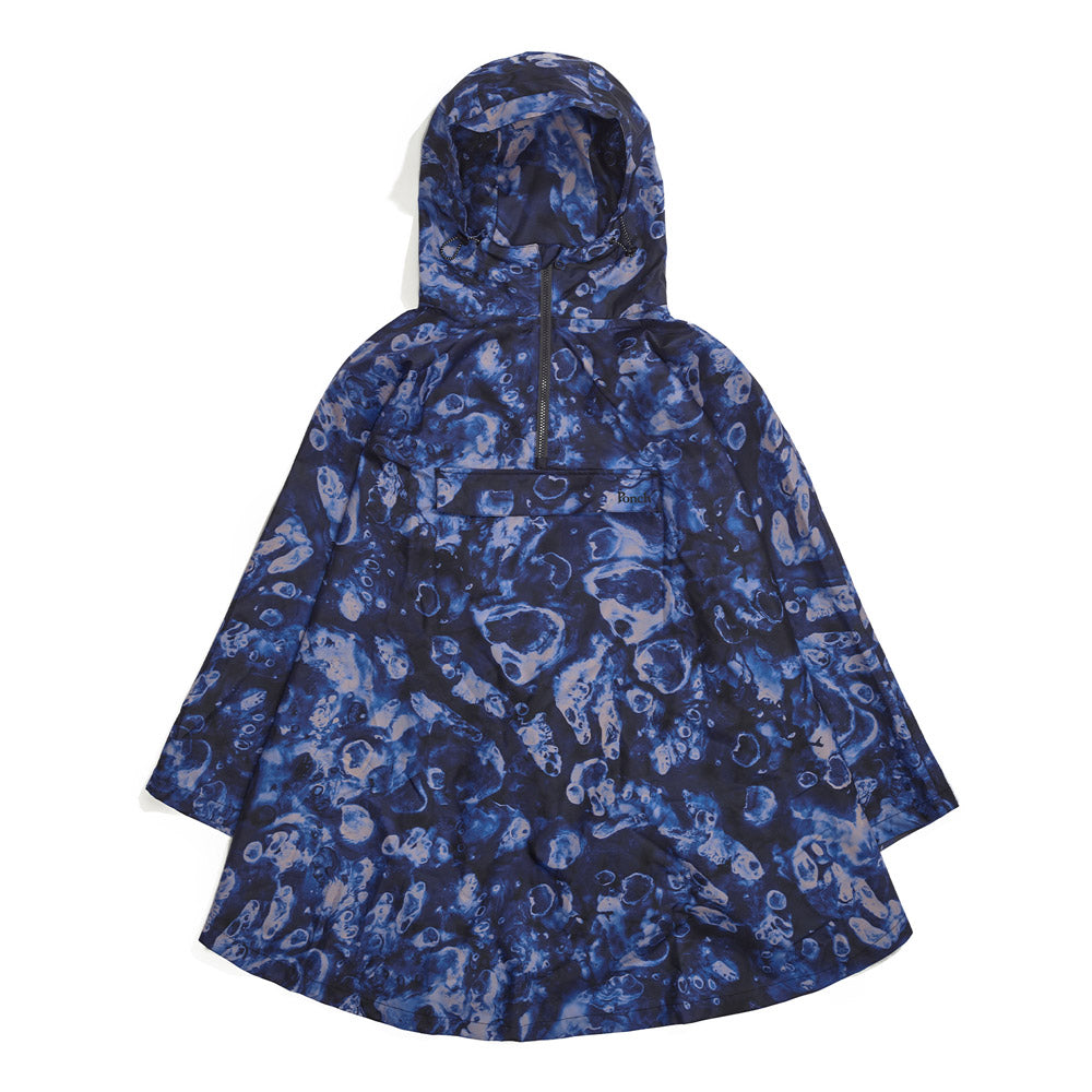 Front product image of blue Leif Podhajsky print hooded rain Poncho by Ponch