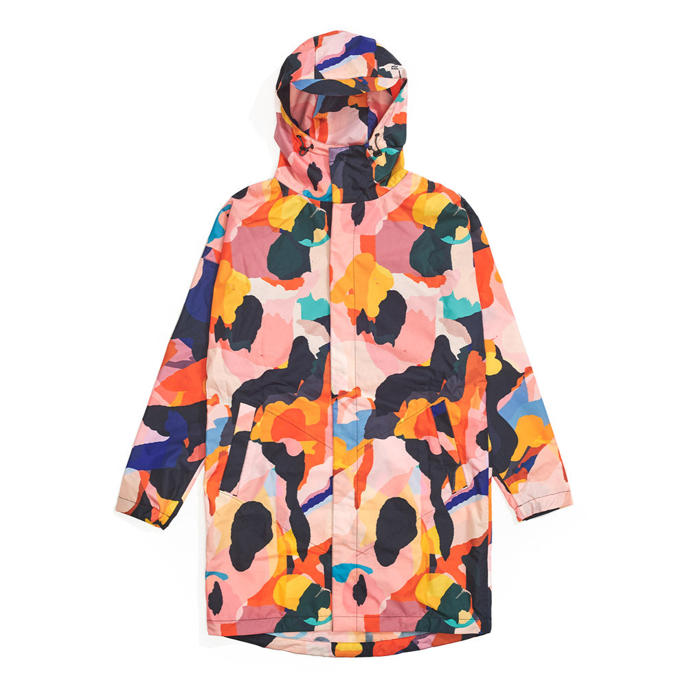 Front product image of multi-colour Leif Podhajsky print hooded Raincoat by Ponch