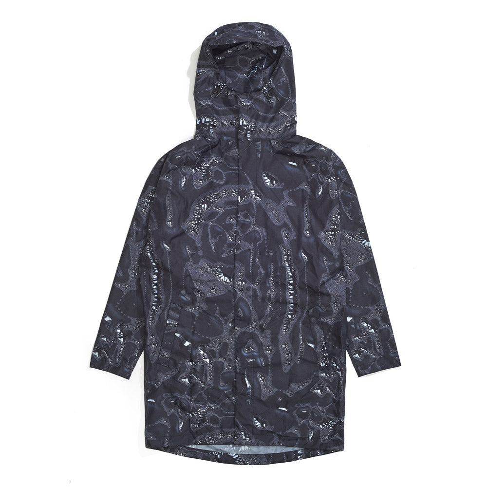 Front product image of black Leif Podhajsky print hooded Raincoat by Ponch