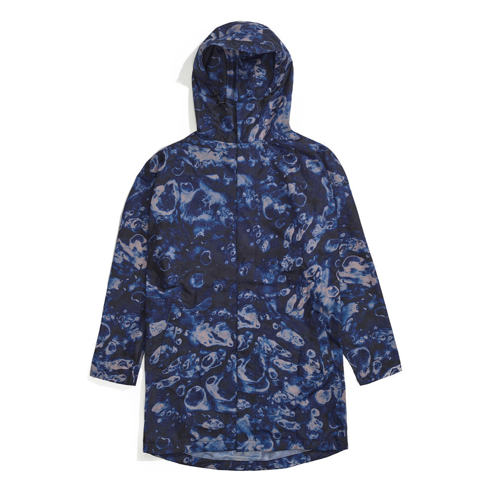Front product image of blue Leif Podhajsky print hooded Raincoat by Ponch