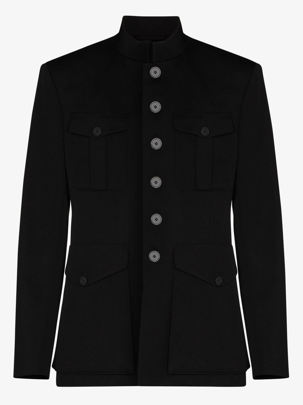 BALENCIAGA Buttoned Military-Inspired Jacket Black