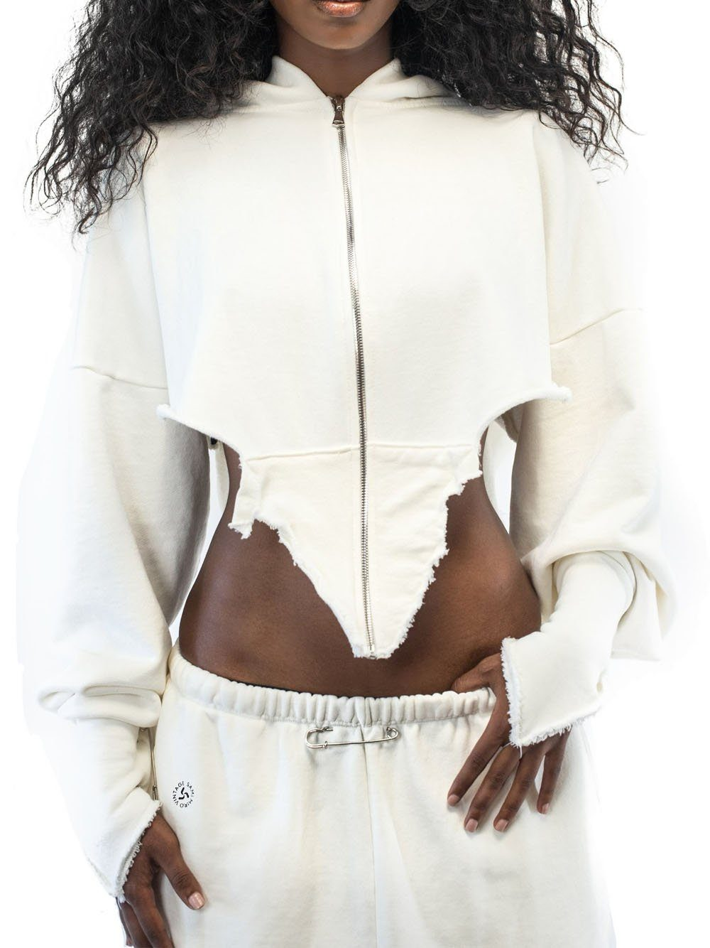 SAMI MIRO VINTAGE V-Cut Zip Up Hoodie White