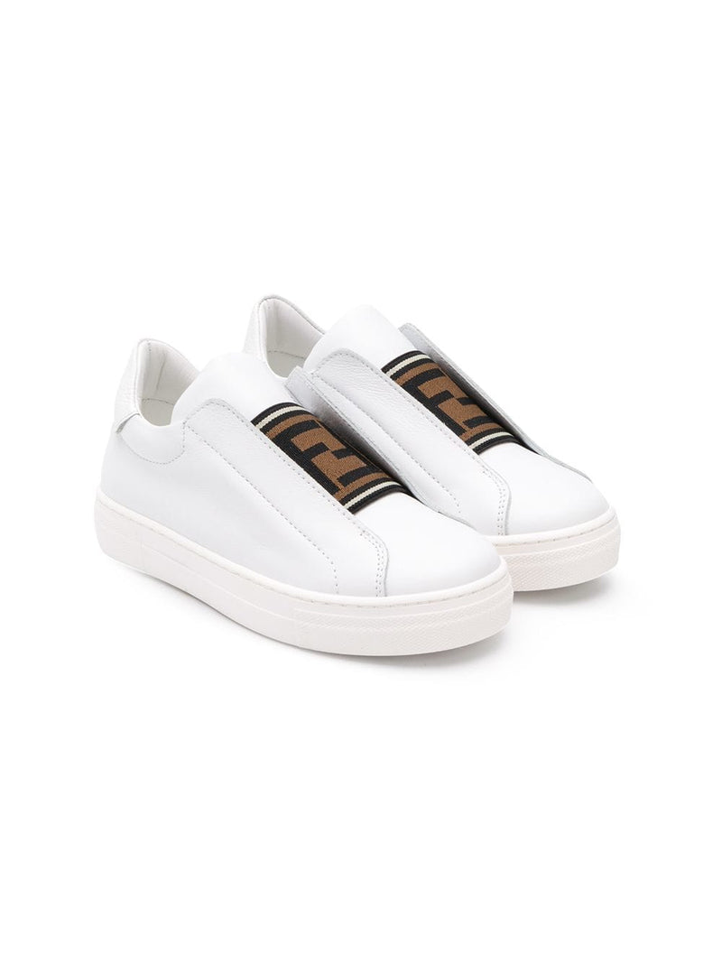 Fendi Kids elasticated logo strap sneakers white - Maison De Fashion