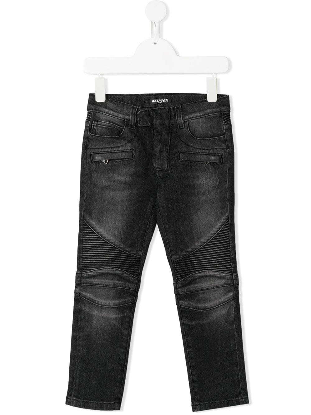 Balmain Kids slim-fit biker jeans washed black - Maison De Fashion