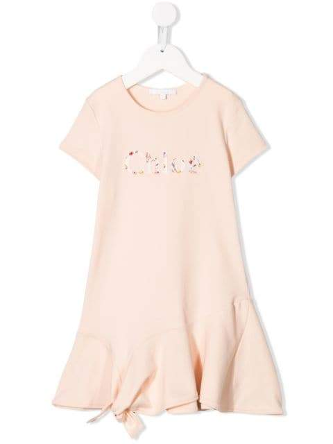 Chloé Floral Logo Embroided Dress | Chloe Kids
