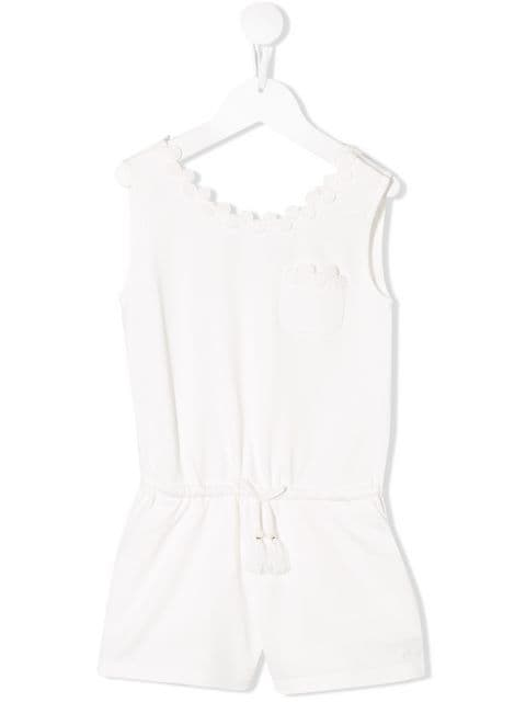 Chloé Kids Sleeveless Drawstring Playsuit | Chloe Kids