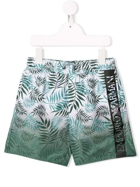 Emporio Armani Teens Green Leaf Print Swim Shorts - Maison De Fashion