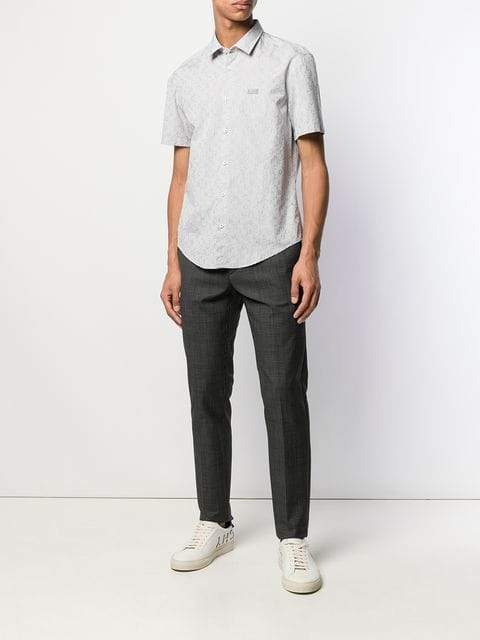 BOSS Grey Short Sleeve Shirt | MAISONDEFASHION.COM