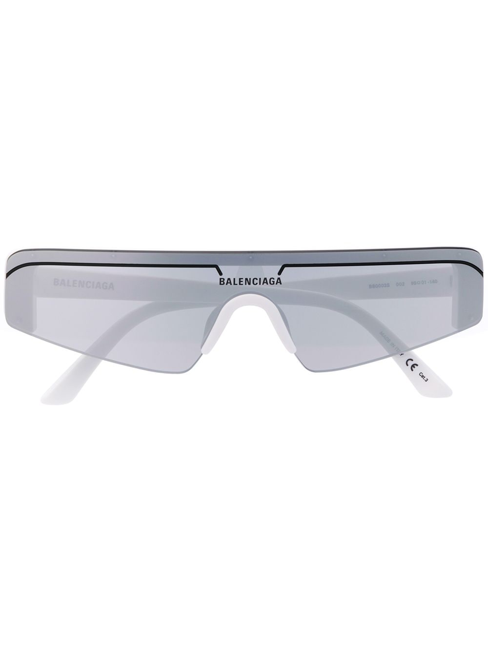 BALENCIAGA ski rectangle glasses white