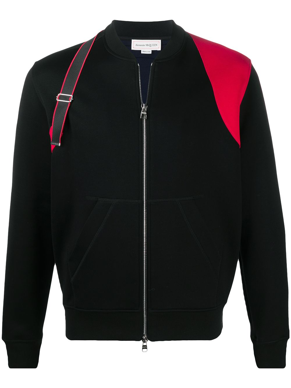 ALEXANDER MCQUEEN Strap Detail Two-tone Bomber Jacket Black