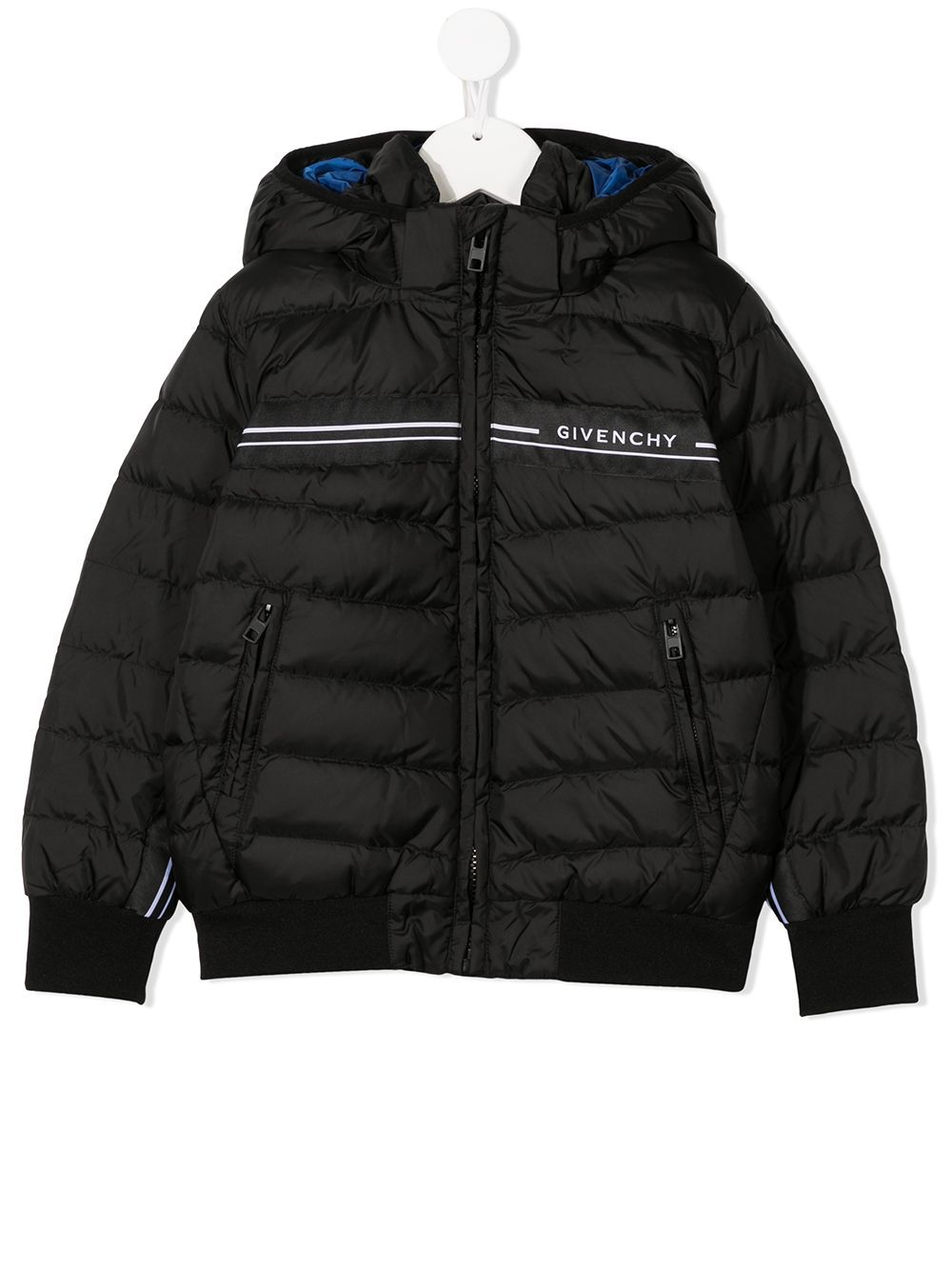 GIVENCHY KIDS Stripe Logo Coat Black/Blue
