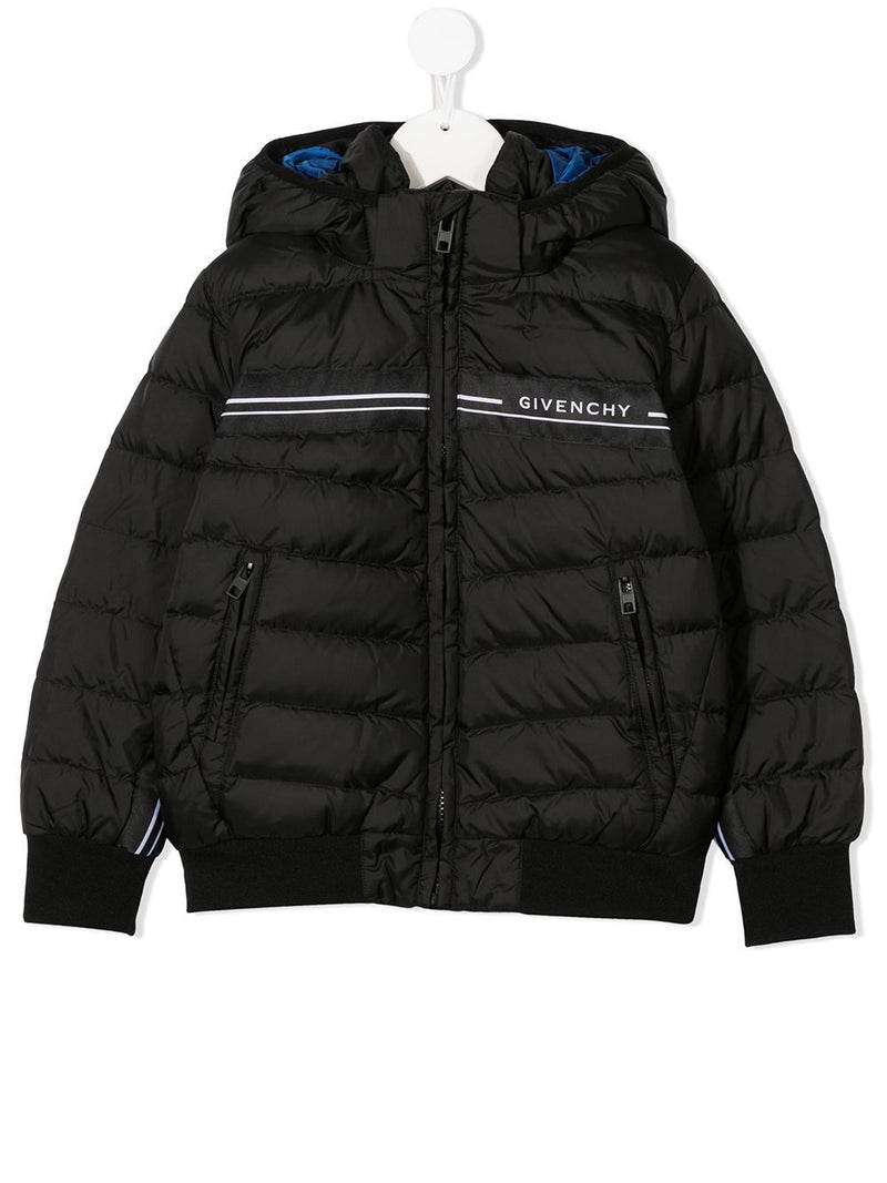 GIVENCHY KIDS Stripe Logo Coat Black/Blue - Maison De Fashion