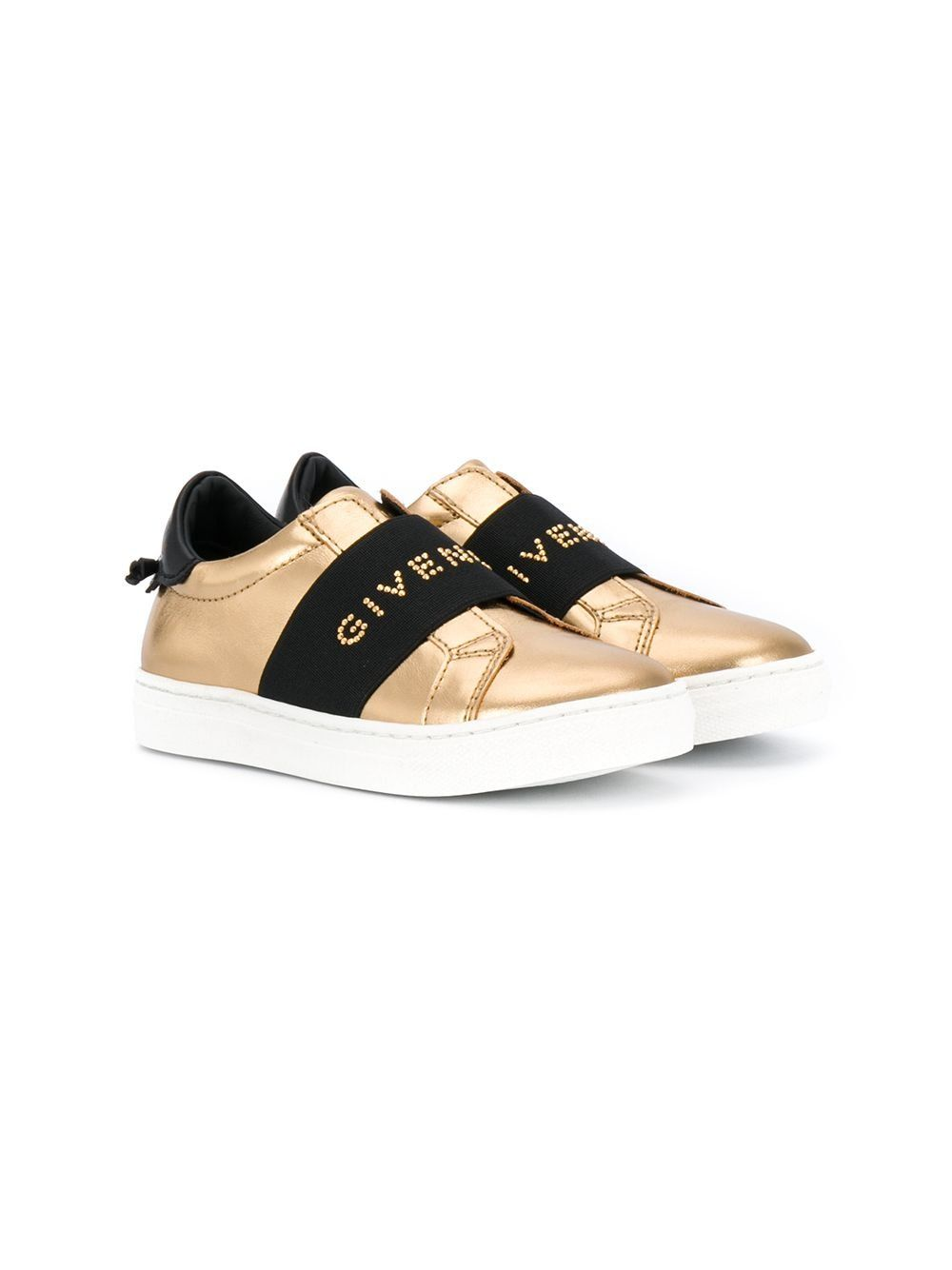 GIVENCHY KIDS Logo Strap Sneaker Gold/White - Maison De Fashion