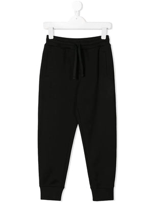 DOLCE & GABBANA KIDS rear logo plaque track pants black - Maison De Fashion